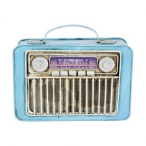 Radio Cofre Retro Decorativo Azul
