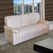 Sofa 3 Lugares Argel Chenille Bege American Confort