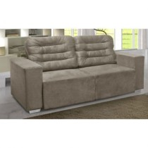 Sofa Ludmila 3 Lugares Bege Simbal Suede