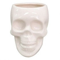 Pote Decorativo Cranio Branco Medio