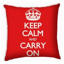 Capa de Almofada Vermelha Keep Calm and Carry
