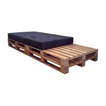 Chaise Longue Pallet Natural Cru Suede Preto