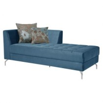 Chaise Long News Veludo Azul