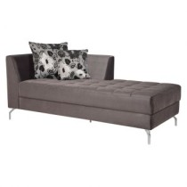 Chaise long News Veludo Cinza