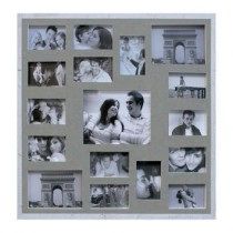 Painel de Fotos Bee Collection 73X73 Rustics 14 Fotos 10X15 e 2 Fotos 15X21 Branco Kapos
