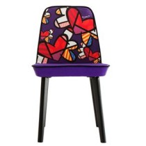 Cadeira de Jantar DAF Trip base preta e estampa Love's in the air Colecao Romero Britto – Roxo