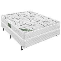 Conjunto Cama Box + Colchao Casal Minaspuma Eco Sleep com Pillow Top e Molas Bonnel 49 x 138 x 188 cm – Branco/Verde
