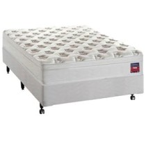 Conjunto Cama Box + Colchao Casal Epeda Ideal com Molejo Ensacado e Pillow In 51 x 138 x 188 cm – Branco