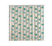 Cortina Box Fish Pvc Azul 180X180Cm