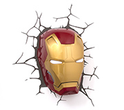 Luminaria 3D Parede Marvel Mascara Ironman